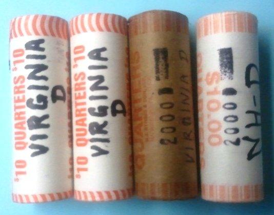 4 rolls of 2000 State Quarters: Denver mint marks