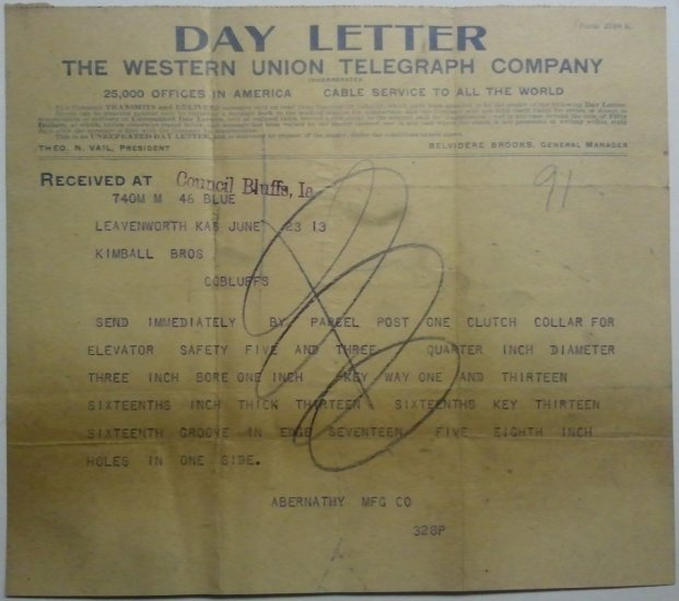 Western Union Day Letter, June 23, 1913