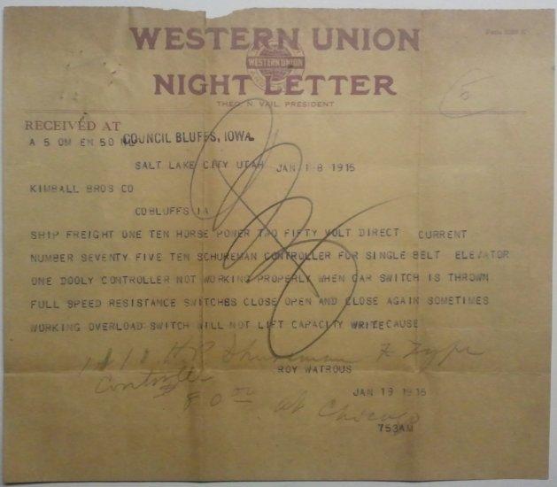 Western Union Night Letter, January 18, 1915