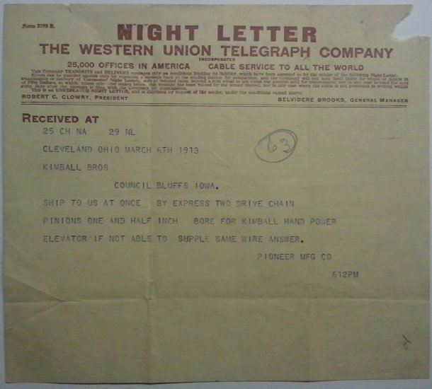 Western Union Night Letter, March 6, 1913