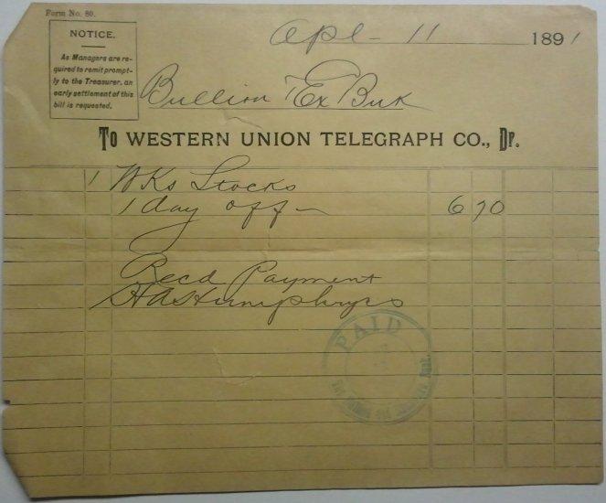 Western Union Telegraph Co., April 11, 1891