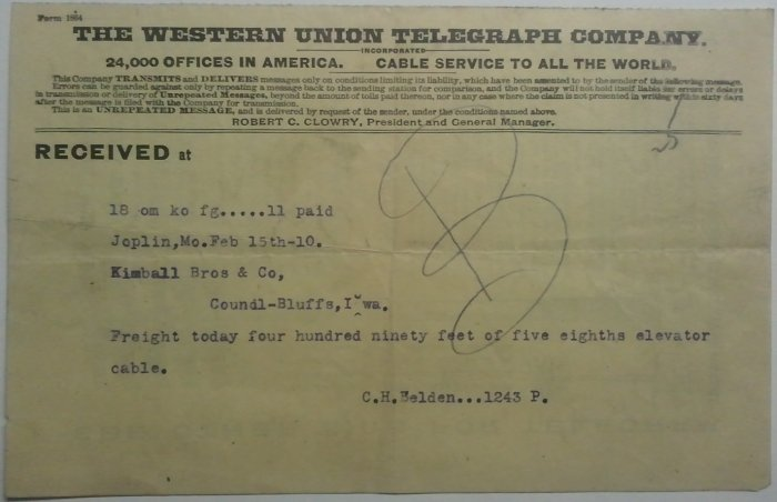 Western Union Telegraph, Feb 15, 1910