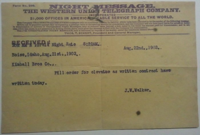 1903 Western Union Telegraph Night Message