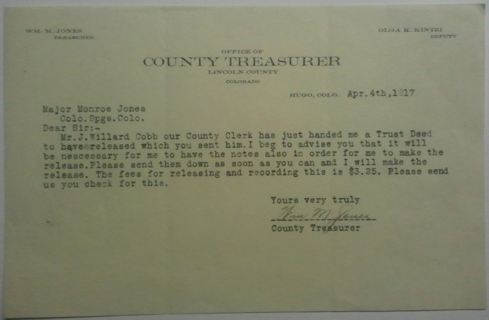 1917 Letter for release of Trust Deed, Hugo, CO