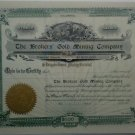 189- The Broker's Gold Mining Company - UNISSUED cert