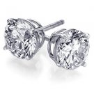 Genuine .46 ct ROUND DIAMOND STUD 14K WG EARRINGS SI2 I