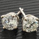 1 CARAT DIAMOND STUD EARRINGS SI H-I COLOR ROUND 14ktwg