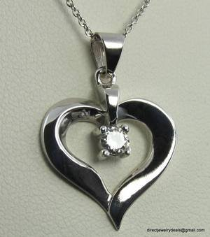 Genuine DIAMOND Open Heart Pendant Necklace 14k Gold