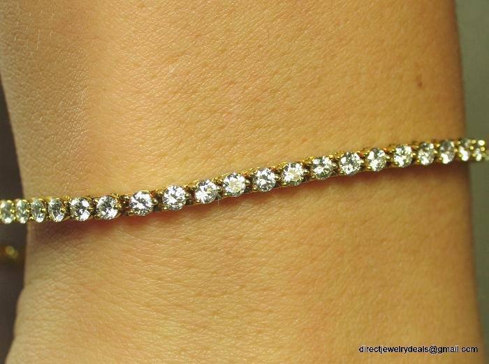 Genuine 2-1/2ct DIAMOND Tennis Bracelet 14K Yellow Gold