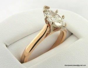 Genuine EGL Cert. .71 carat Diamond Ring 14K Gold H SI1