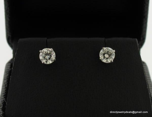 Genuine SI2 H 1 ct ROUND DIAMOND STUD 14K WG EARRINGS