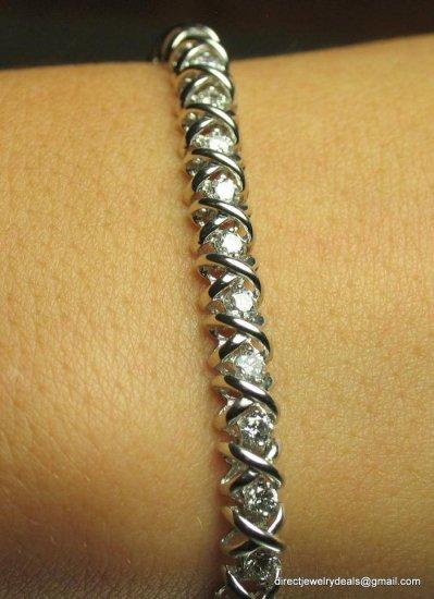 IGL 3ct Genuine DIAMOND Xs Os Tennis Bracelet 18K Gold