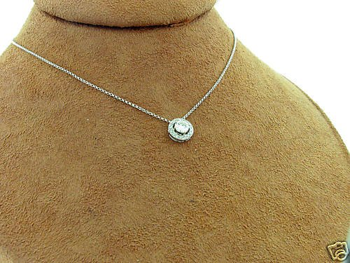 1/2 TCW ROUND SOLITAIRE DIAMOND PENDANT NECKLACE 14k WG