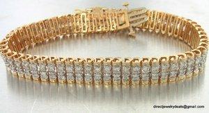 4 Carat Genuine DIAMOND Tennis Bracelet 14K Gold