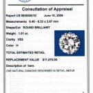 EGL Cert. Genuine 1.01 CT Round LOOSE Diamond VS2 / H
