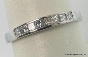 Genuine DIAMOND Wedding Band 14K White Gold H VS1