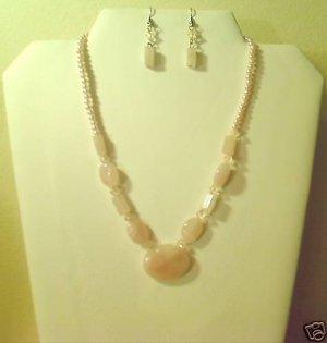 "17""-20"" Beautiful Pink Quartz Necklace & Earring Set"