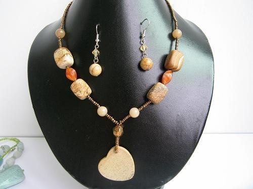 "17""-20"" Genuine Jasper & Agate Necklace &  Earrings Set"