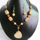 "17""-20"" Genuine Jasper & Agate Necklace &  Earrings Set"