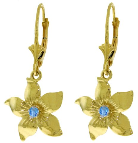 14K GOLD LEVERBACK FLOWERS EARRING WITH BLUE TOPAZ