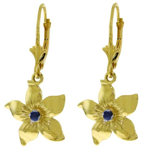 14K GOLD LEVERBACK FLOWERS EARRING WITH SAPPHIRES