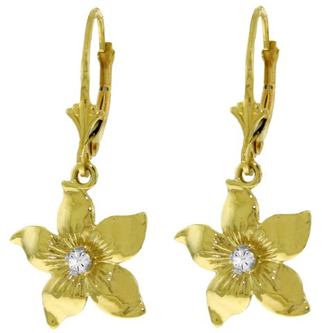 14K SOLID GOLD LEVERBACK FLOWERS EARRING WITH DIAMOND