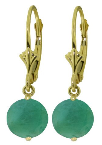 14K SOLID GOLD LEVERBACK EARRING WITH 3.3 CT EMERALDS