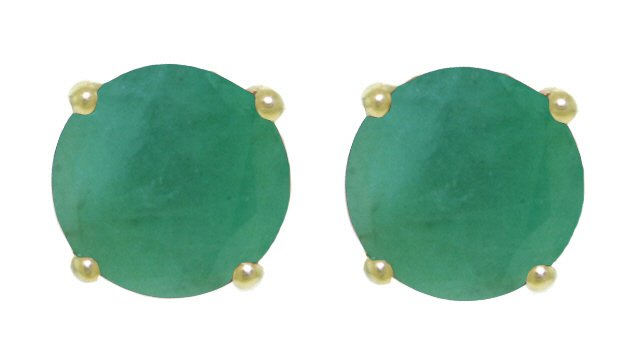 14K SOLID GOLD STUD EARRING WITH 3.3 CT NATURAL EMERALDS