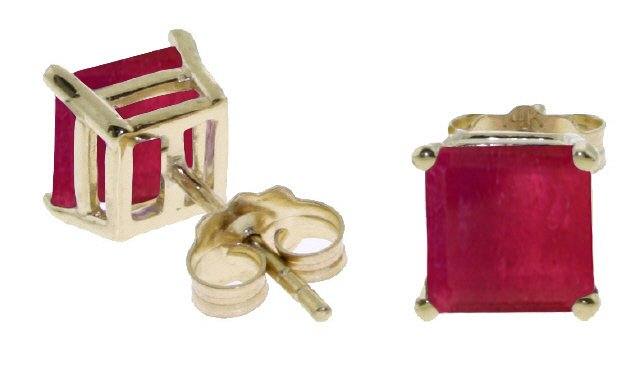 14K SOLID GOLD STUD EARRING WITH NATURAL 2.9 CT RUBIES