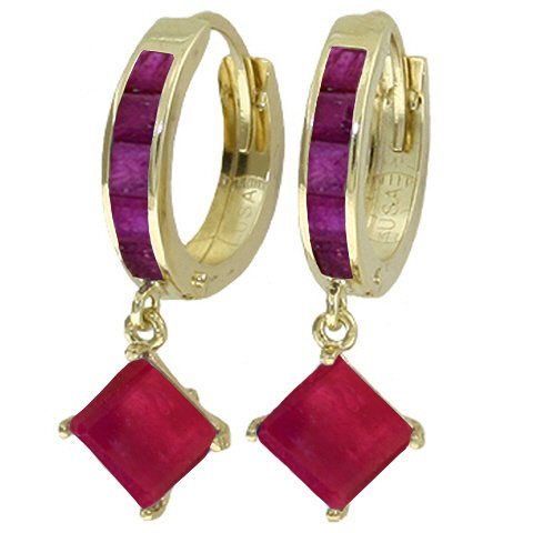 14K SOLID GOLD HOOP EARRING WITH DANGLING 4.2 CT RUBIES