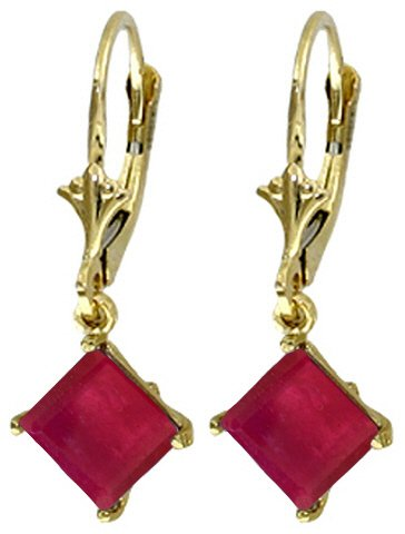 14K SOLID GOLD LEVERBACK EARRING WITH NATURAL 2.9 CT RUBIES