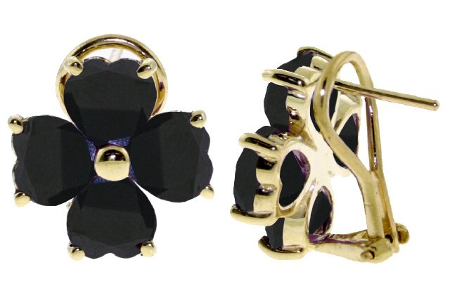 14K GOLD FRENCH CLIPS EARRING WITH NATURAL 7.2 CT SAPPHIRES