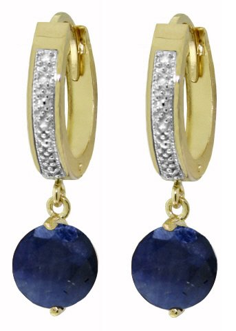 14K SOLID GOLD HOOP EARRING WITH 3.33 CT DIAMONDS & SAPPHIRES