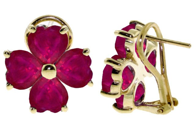 14K GOLD FRENCH CLIPS EARRING WITH NATURAL 7.2 CT RUBIES