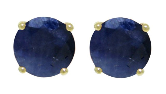 14K SOLID GOLD STUD EARRING WITH NATURAL 3.3 CT SAPPHIRES