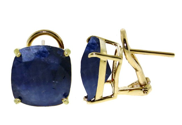 14K GOLD FRENCH CLIPS EARRING WITH NATURAL 9.6 CT SAPPHIRES