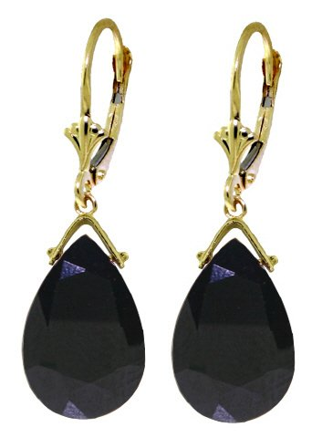 14K GOLD LEVERBACK EARRING WITH BRIOLETTE 15.6 CT SAPPHIRES