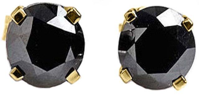 14K GOLD STUD EARRINGS 2.0 CT NATURAL BLACK DIAMOND