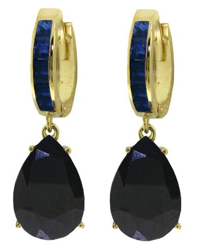 14K SOLID GOLD HUGGIE EARRING 10.60 CT DANGLING SAPPHIRES