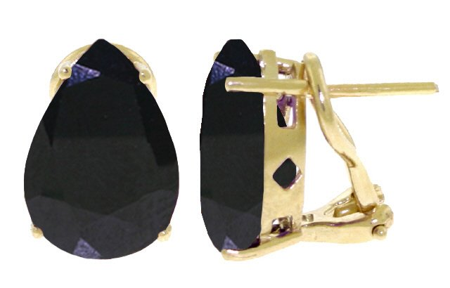 14K GOLD FRENCH CLIPS EARRING 9.3 CT NATURAL SAPPHIRES