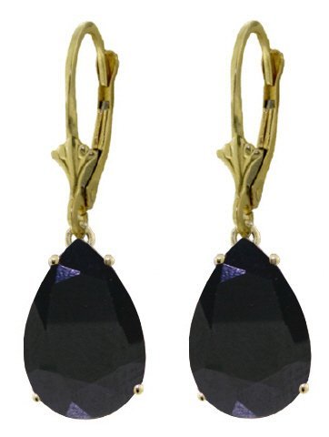 14K GOLD LEVER BACK EARRINGS 9.3 CT NATURAL SAPPHIRES