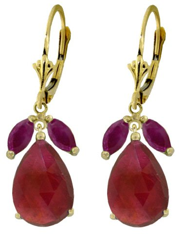 14K GOLD LEVERBACK EARRING 11 CT NATURAL RUBIES