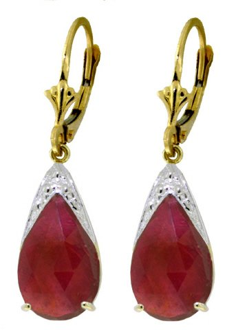 14K SOLID GOLD LEVERBACK EARRING WITH 10 CT NATURAL RUBIES
