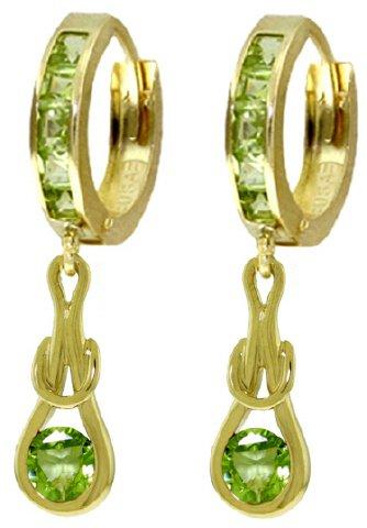14K SOLID GOLD HUGGIE EARRINGS 2.3 CT DANGLING PERIDOTS