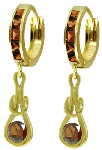 14K SOLID GOLD HUGGIE EARRINGS WITH 2.6 CT DANGLING GARNETS