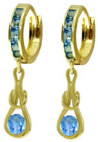 14K GOLD HUGGIE EARRINGS WITH 2.5 CT DANGLING BLUE TOPAZ