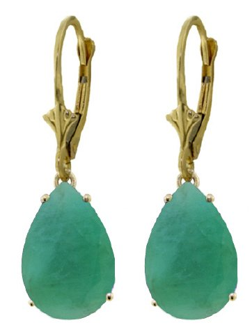 14K GOLD LEVER BACK EARRINGS WITH 7 CT NATURAL EMERALDS