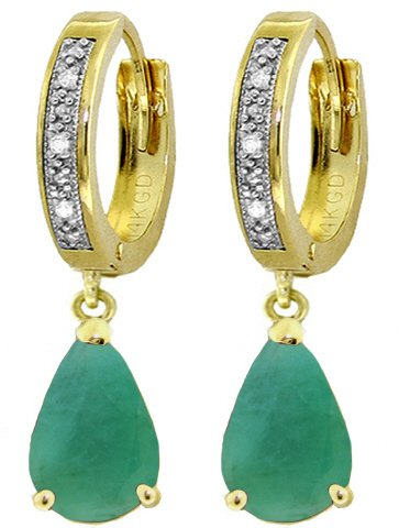 14K SOLID GOLD HOOP EARRING WITH 2.03 CT DIAMONDS & EMERALDS
