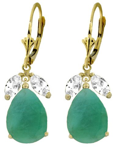 14K GOLD LEVERBACK EARRING 8 CT EMERALDS & WHITE TOPAZ