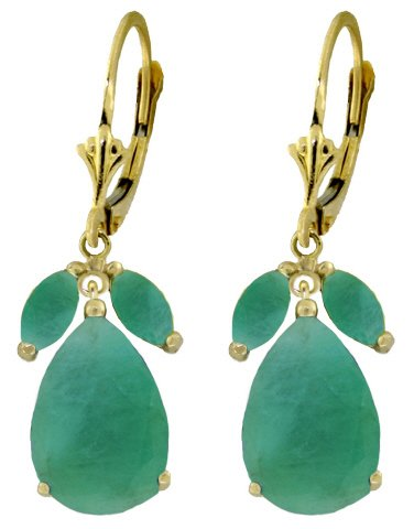 14K GOLD LEVERBACK EARRING WITH 8 CT NATURAL EMERALDS